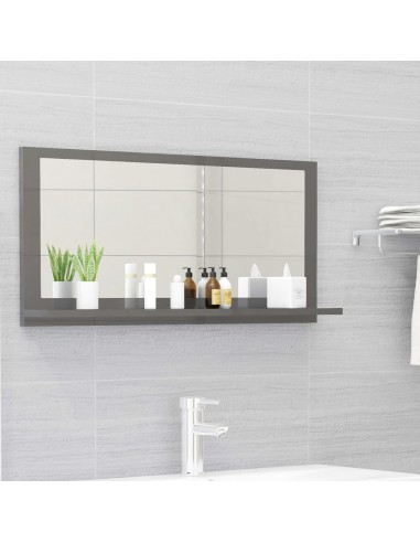 Vonios kambario veidrodis, pilkas, 80x10,5x37cm, MDP, blizgus | Vonios Spintelės | duodu.lt