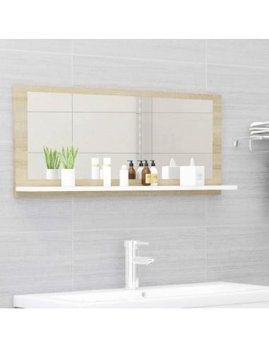 Vonios kambario veidrodis, baltas ir ąžuolo, 90x10,5x37cm, MDP | Vonios Spintelės | duodu.lt