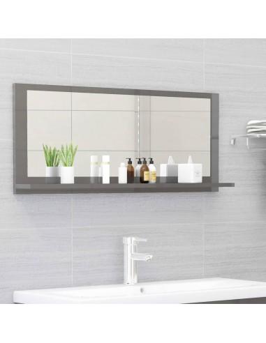 Vonios kambario veidrodis, pilkas, 90x10,5x37cm, MDP, blizgus | Vonios Spintelės | duodu.lt
