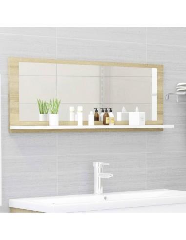Vonios kambario veidrodis, baltas ir ąžuolo, 100x10,5x37cm, MDP | Vonios Spintelės | duodu.lt