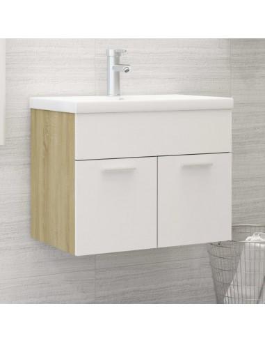 Spintelė praustuvui, balta ir ąžuolo, 60x38,5x46cm, MDP   Vonios baldų komplektai   duodu.lt