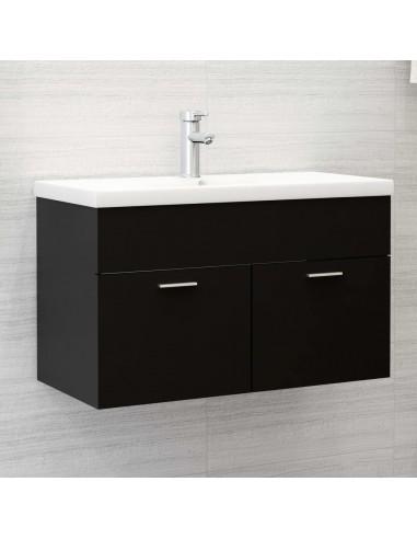 Spintelė praustuvui, juodos spalvos, 80x38,5x46cm, MDP   Vonios baldų komplektai   duodu.lt