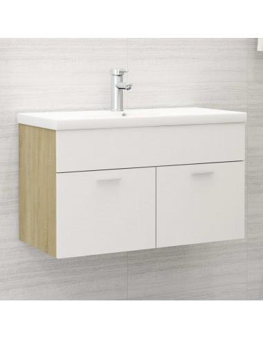 Spintelė praustuvui, balta ir ąžuolo, 80x38,5x46cm, MDP | Vonios baldų komplektai | duodu.lt