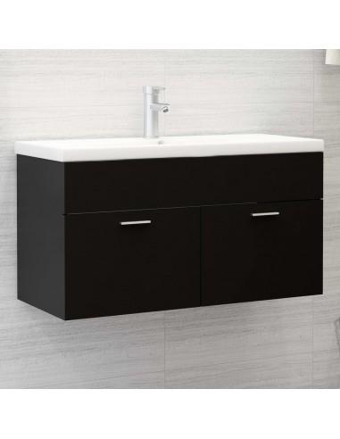 Spintelė praustuvui, juodos spalvos, 90x38,5x46cm, MDP | Vonios baldų komplektai | duodu.lt