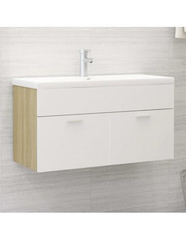 Spintelė praustuvui, balta ir ąžuolo, 90x38,5x46cm, MDP   Vonios baldų komplektai   duodu.lt