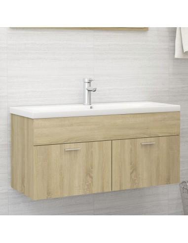 Spintelė praustuvui, sonoma ąžuolo spalvos, 100x38,5x46cm, MDP | Vonios baldų komplektai | duodu.lt