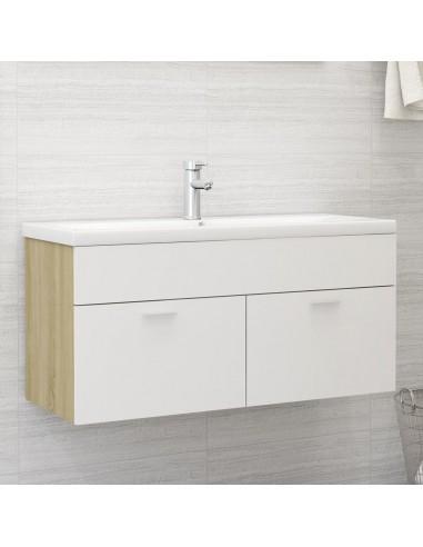 Spintelė praustuvui, balta ir ąžuolo, 100x38,5x46cm, MDP   Vonios baldų komplektai   duodu.lt