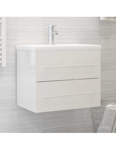 Spintelė praustuvui, balta, 60x38,5x48cm, MDP, ypač blizgi | Vonios baldų komplektai | duodu.lt
