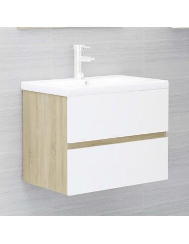 Spintelė praustuvui, balta ir ąžuolo, 60x38,5x45cm, MDP   Vonios baldų komplektai   duodu.lt