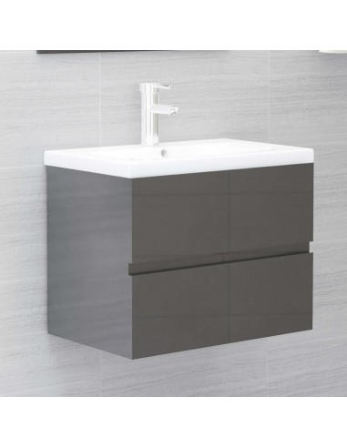 Spintelė praustuvui, pilka, 60x38,5x45cm, MDP, ypač blizgi | Vonios baldų komplektai | duodu.lt