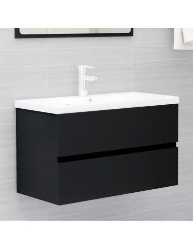 Spintelė praustuvui, juodos spalvos, 80x38,5x45cm, MDP | Vonios baldų komplektai | duodu.lt
