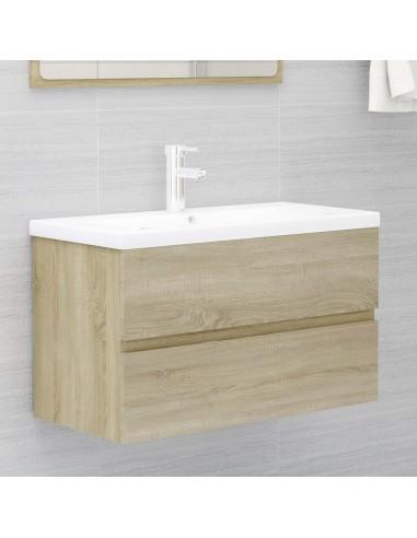 Spintelė praustuvui, sonoma ąžuolo spalvos, 80x38,5x45cm, MDP | Vonios baldų komplektai | duodu.lt