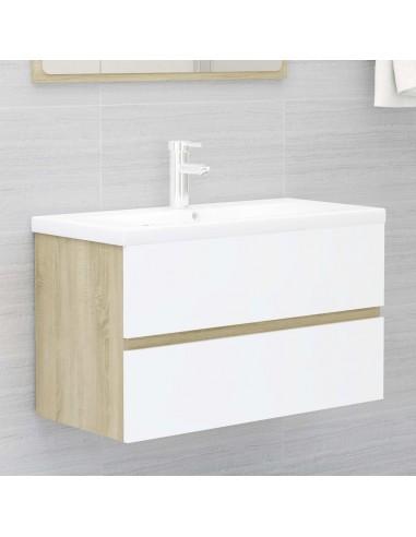Spintelė praustuvui, balta ir ąžuolo, 80x38,5x45cm, MDP   Vonios baldų komplektai   duodu.lt