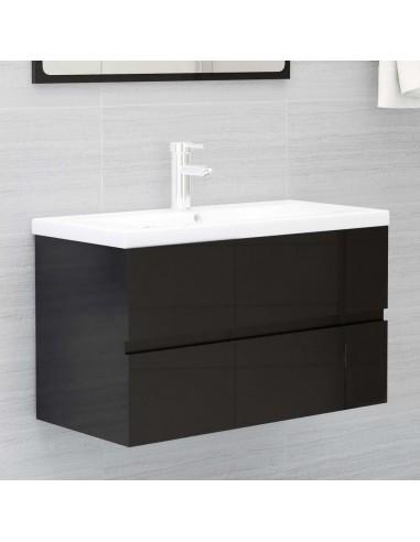 Spintelė praustuvui, juoda, 80x38,5x45cm, MDP, ypač blizgi   Vonios baldų komplektai   duodu.lt