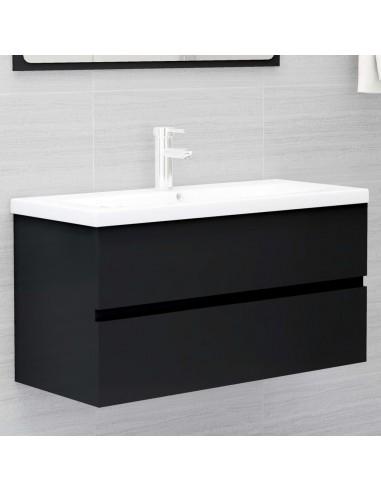 Spintelė praustuvui, juodos spalvos, 90x38,5x45cm, MDP | Vonios baldų komplektai | duodu.lt