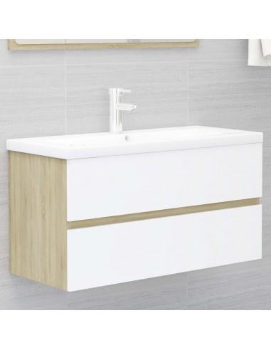 Spintelė praustuvui, balta ir ąžuolo, 90x38,5x45cm, MDP | Vonios baldų komplektai | duodu.lt