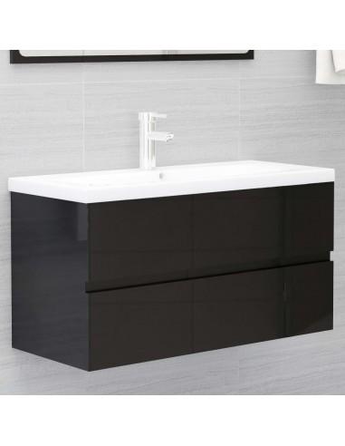Spintelė praustuvui, juoda, 90x38,5x45cm, MDP, ypač blizgi | Vonios baldų komplektai | duodu.lt
