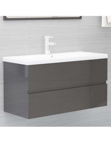 Spintelė praustuvui, pilka, 90x38,5x45cm, MDP, ypač blizgi | Vonios baldų komplektai | duodu.lt