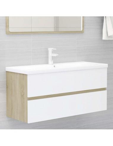 Spintelė praustuvui, balta ir ąžuolo, 100x38,5x45cm, MDP   Vonios baldų komplektai   duodu.lt