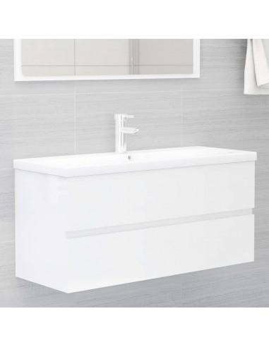 Spintelė praustuvui, balta, 100x38,5x45cm, MDP, ypač blizgi | Vonios baldų komplektai | duodu.lt