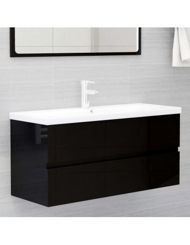 Spintelė praustuvui, juoda, 100x38,5x45cm, MDP, ypač blizgi | Vonios baldų komplektai | duodu.lt