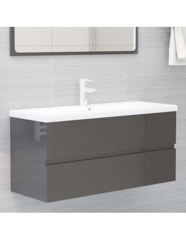 Spintelė praustuvui, pilka, 100x38,5x45cm, MDP, ypač blizgi | Vonios baldų komplektai | duodu.lt