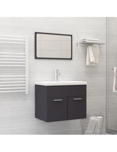 Vonios kambario baldų komplektas, 2 dalių, juodos spalvos, MDP | Vonios baldų komplektai | duodu.lt
