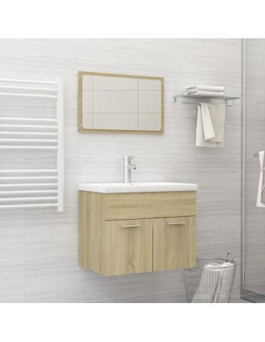 Vonios kambario baldų komplektas, 2 dalių, ąžuolo spalvos, MDP | Vonios baldų komplektai | duodu.lt
