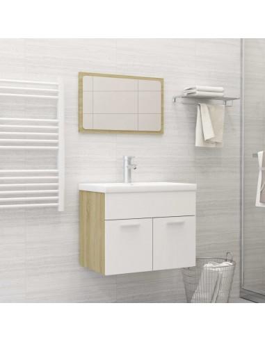 Vonios kambario komplektas, 2 dalių, baltas ir ąžuolo, MDP   Vonios baldų komplektai   duodu.lt