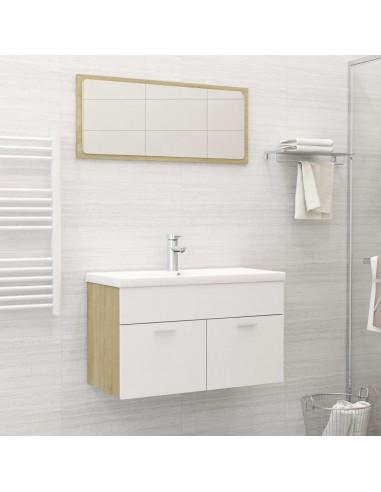 Vonios kambario komplektas, 2 dalių, baltas ir ąžuolo, MDP | Vonios baldų komplektai | duodu.lt