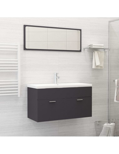 Vonios kambario baldų komplektas, 2 dalių, pilkos spalvos, MDP | Vonios baldų komplektai | duodu.lt