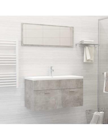 Vonios kambario baldų komplektas, 2 dalių, betono pilkas, MDP | Vonios baldų komplektai | duodu.lt
