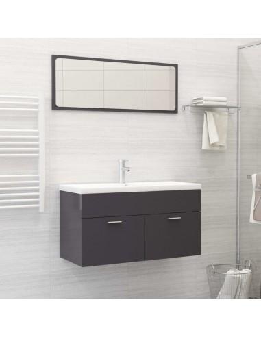 Vonios kambario komplektas, 2 dalių, pilkas, MDP, ypač blizgus | Vonios baldų komplektai | duodu.lt