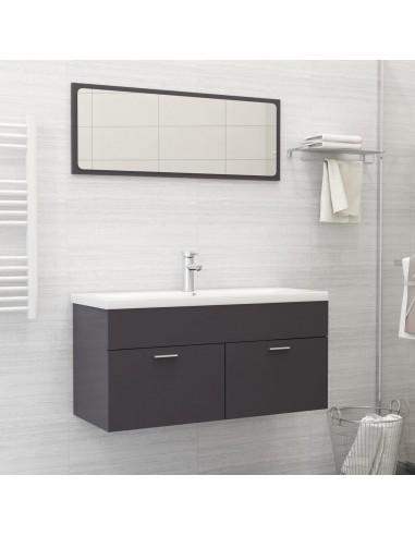 Vonios kambario baldų komplektas, 2 dalių, pilkas, MDP, blizgus | Vonios baldų komplektai | duodu.lt