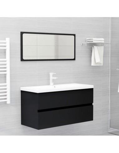 Vonios kambario baldų komplektas, 2 dalių, juodos spalvos, MDP   Vonios baldų komplektai   duodu.lt