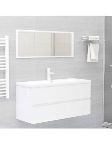 Vonios kambario baldų komplektas, 2 dalių, baltas, MDP, blizgus | Vonios baldų komplektai | duodu.lt