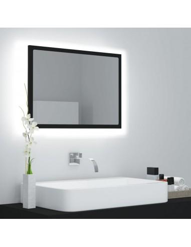 Vonios veidrodis su LED apšvietimu, juodos spalvos, 60x8,5x37 cm, MDP    Vonios Spintelės   duodu.lt