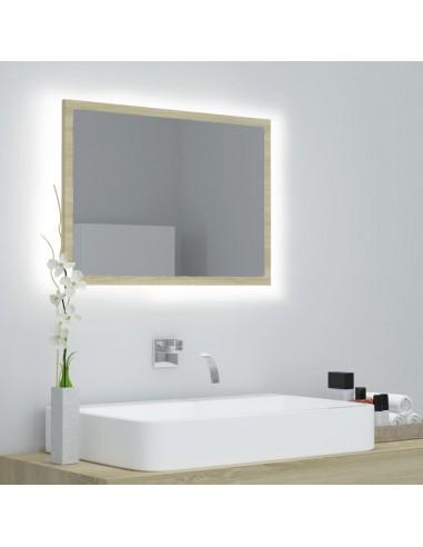 Vonios veidrodis su LED apšvietimu, ąžuolo, 60x8,5x37cm, MDP | Vonios Spintelės | duodu.lt