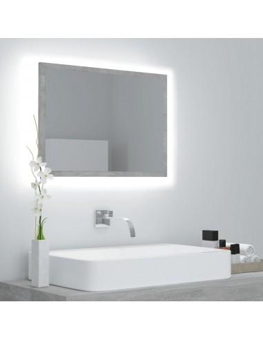 Vonios veidrodis su LED, betono pilkas, 60x8,5x37cm, MDP    Vonios Spintelės   duodu.lt
