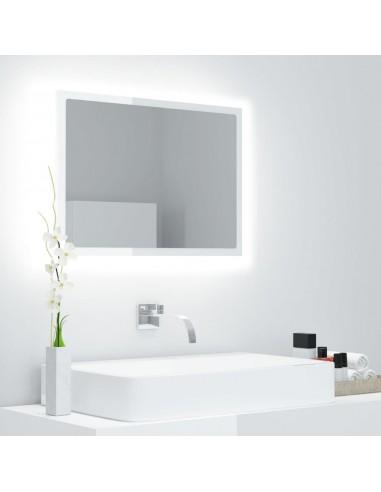 Vonios veidrodis LED, baltas, 60x8,5x37 cm, MDP, blizgus | Vonios Spintelės | duodu.lt