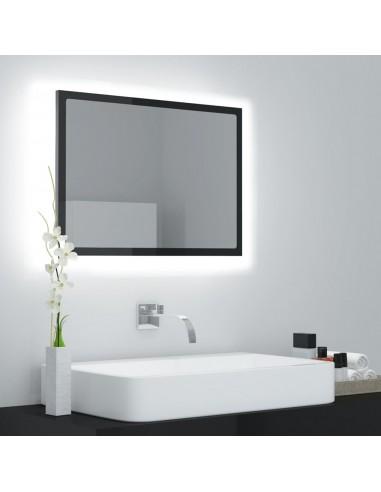 Vonios veidrodis su LED apšvietimu, juodas, 60x8,5x37cm, MDP    Vonios Spintelės   duodu.lt