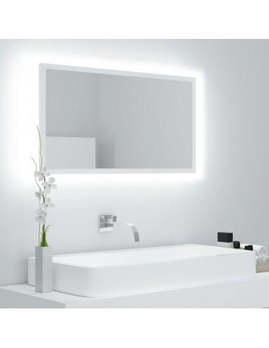 Vonios veidrodis LED, baltas, 80x8,5x37cm, MDP, ypač blizgus | Vonios Spintelės | duodu.lt