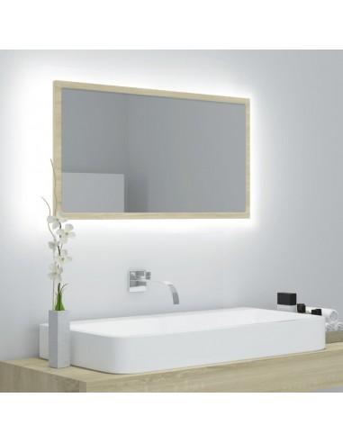Vonios kambario veidrodis, ąžuolo spalvos, 80x8,5x37cm, MDP   Vonios Spintelės   duodu.lt