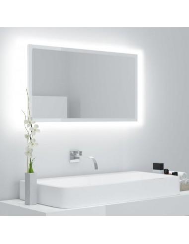 Vonios veidrodis LED, baltas, 80x8,5x37cm, MDP, blizgus | Vonios Spintelės | duodu.lt