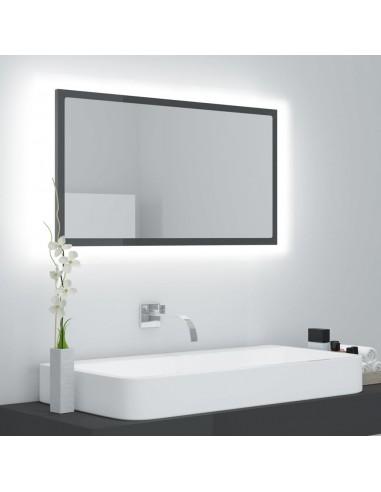 Vonios veidrodis LED, pilkas, 80x8,5x37cm, MDP, blizgus | Vonios Spintelės | duodu.lt