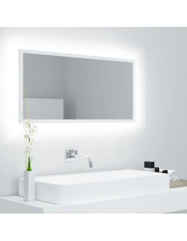 Vonios kambario veidrodis su LED, baltas, 90x8,5x37cm, MDP | Vonios Spintelės | duodu.lt