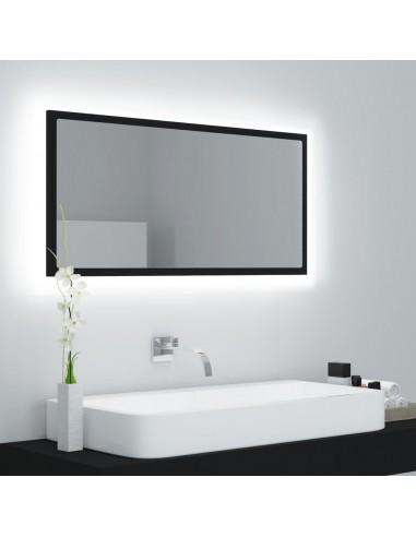 Vonios kambario veidrodis su LED, juodas, 90x8,5x37cm, MDP | Vonios Spintelės | duodu.lt