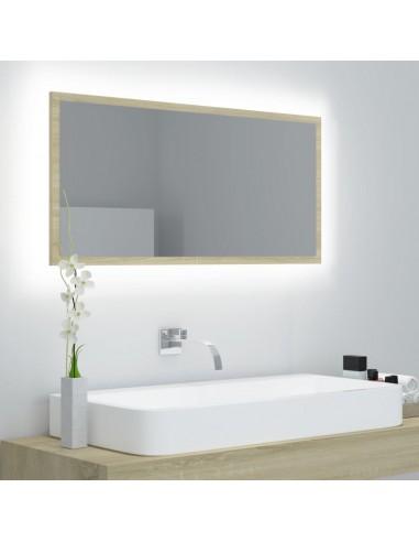 Vonios kambario veidrodis, ąžuolo spalvos, 90x8,5x37cm, MDP | Vonios Spintelės | duodu.lt