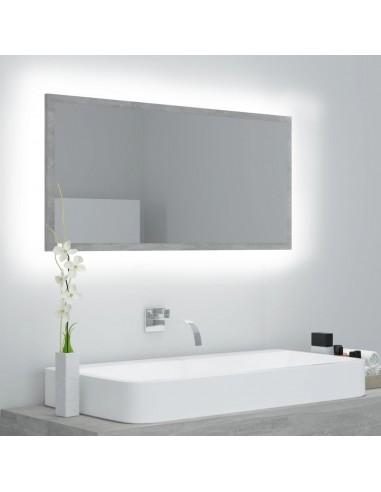 Vonios kambario veidrodis, betono pilkas, 90x8,5x37cm, MDP | Vonios Spintelės | duodu.lt
