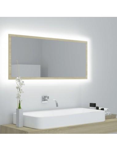 Vonios veidrodis su LED, sonoma ąžuolo, 90x8,5x37cm, MDP   Vonios Spintelės   duodu.lt